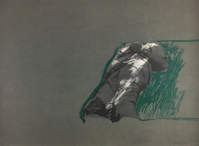 Rafael Canogar Original Grafik Figur auf Gras