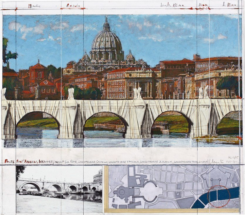 Christo Ponte Sant Angelo, Rome, Wrapped Grafik Siebdruck