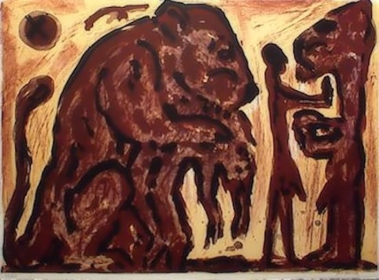 A.R. Penck Lithographie Grafik Erinnerung unbekannt