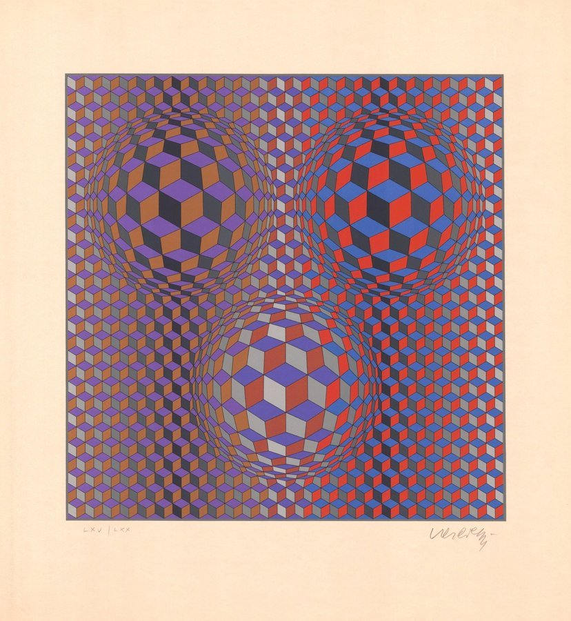 Victor Vasarely Lithographie Konjunktion