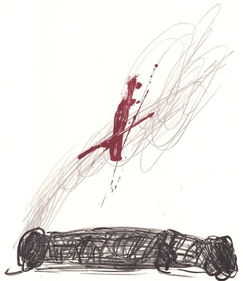 Antoni Tapies Lithographie Rouge sur crayon