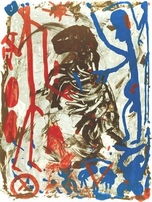 A.R. Penck Grafik Lithographie Untitled I (1992)