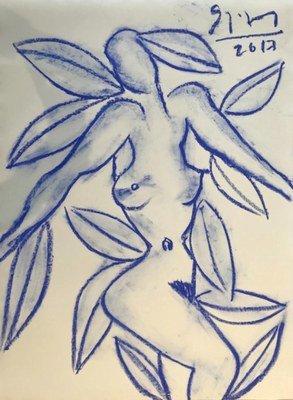 Stefan Szczesny Zeichnung Eva mit blauem Blatt