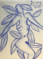 Stefan Szczesny Original Drawing Eve With Blue Leaf