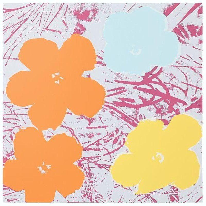 Andy Warhol Flowers Serigraph Yellow Pink Sunday B. Morning