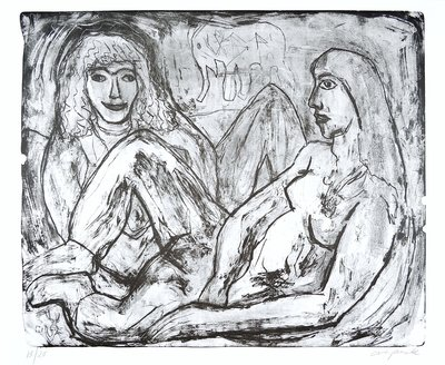 A.R. Penck Grafik Radierung Zwei Frauen