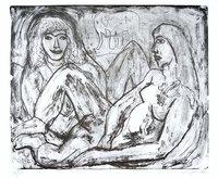 A.R. Penck Print Etching Zwei Frauen