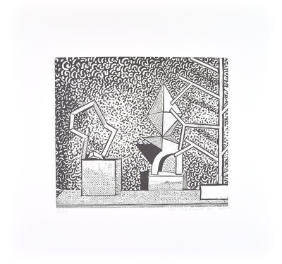 Matthias Weischer Linolcut Print ohne Titel