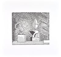 Matthias Weischer Linolschnitt Grafik ohne Titel