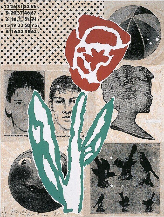 Donald Baechler Print Silkscreen Collage Untitled (1995)