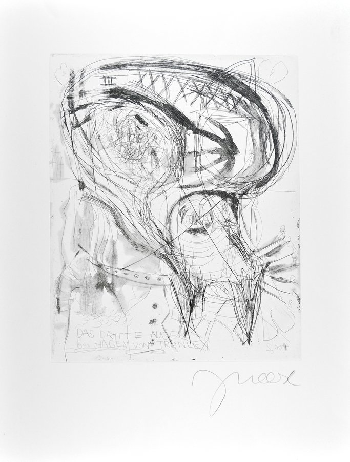 Jonathan Meese Grafik Radierung Der hohlste Kunsthistoriker