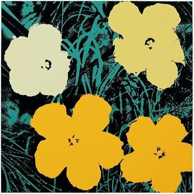 Andy Warhol Flowers Gelb Schwarz Siebdruck Sunday B. Morning