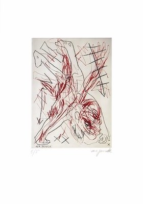 A.R. Penck Etching Print Jetset 5 Handstand