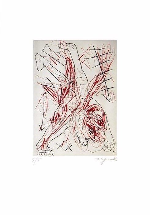 A.R. Penck Radierung Grafik Jetset 5 Handstand