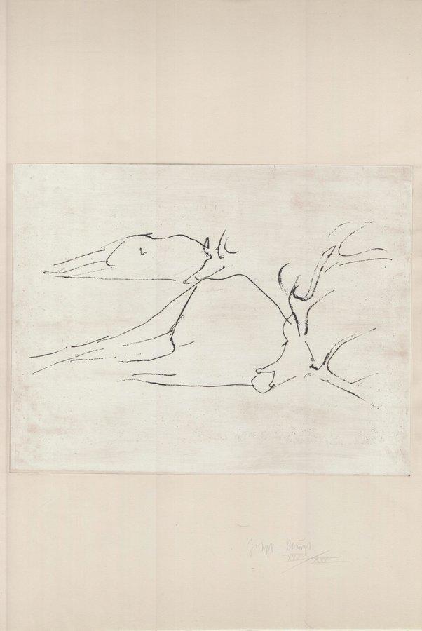 Joseph Beuys Zirkulationszeit: Tote Hirsche Etching