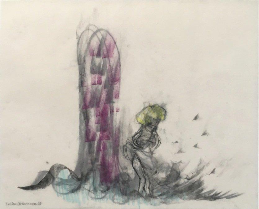 Leiko Ikemura Drawing Waves - Wind  - Essence II