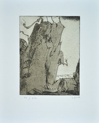 Horst Janssen Grafik Fels und Wurm