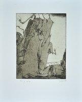 Horst Janssen Print Fels und Wurm