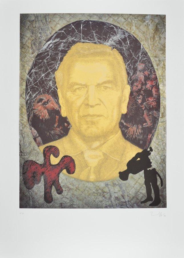 Jörg Immendorff Gerhard Schröder Grafik Siebdruck