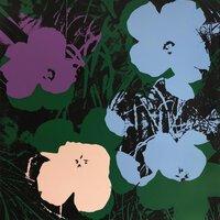 Andy Warhol Flowers Black Blue Serigraph Sunday B. Morning