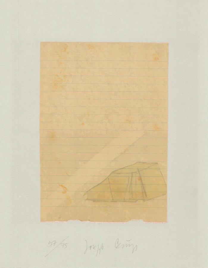 Joseph Beuys Grafik Schwurhand: Zelt und Lichtstrahl