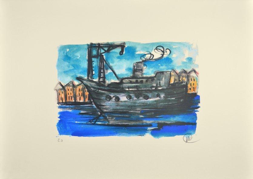 Markus Lüpertz Lithographie Grafik Schiff im Hafen