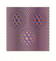 Victor Vasarely Grafik Konjunktion