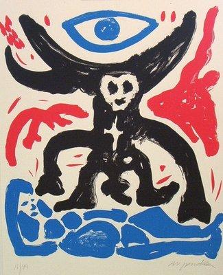 A.R. Penck Grafik Siebdruck Pilatus, Adam und Eva und das Auge Gottes