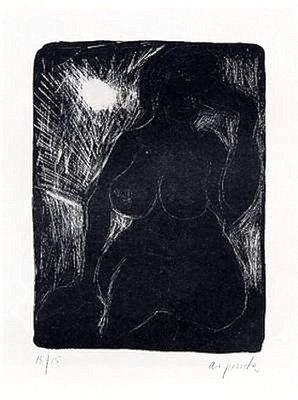 A.R. Penck Italienisches Mädchen Grafik Lithographie