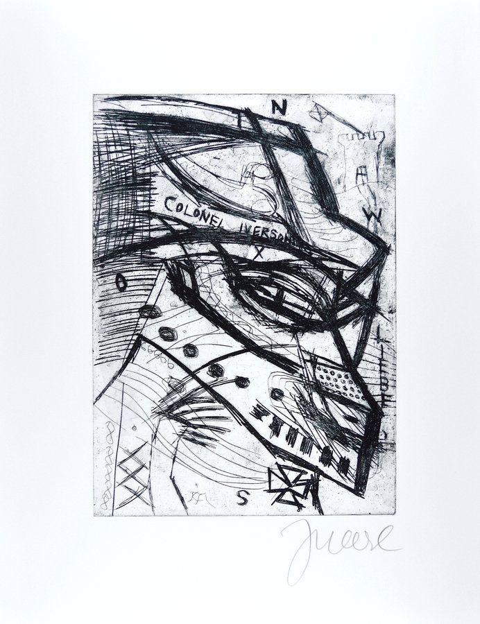 Jonathan Meese Etching Print Colonel Iverson