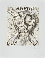 Jonathan Meese Radierung Don Skeletti im Fettnapf mit 10 Zäpfchen