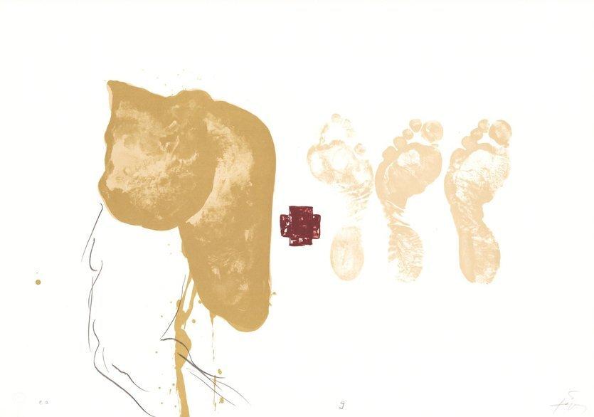 Antoni Tapies Grafik Drei Füsse - Suite IX