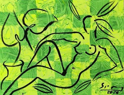 Stefan Szczesny Original Painting Nude on a green background