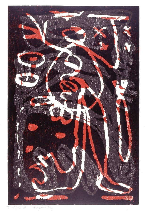 A.R. Penck Print Woodcut Untitled II (1992)