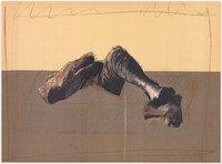 Rafael Canogar Grafik Figur in Landschaft