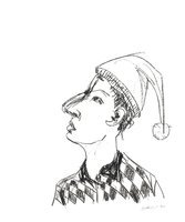 Stephan Balkenhol Kopf mit Zipfelmütze Grafik Lithografie