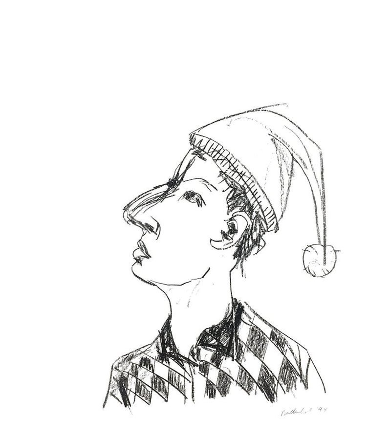 Stephan Balkenhol Kopf mit Zipfelmütze Print Lithograph