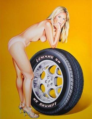 Mel Ramos Tyra Tyre Lithografie Grafik