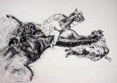 Norbert Tadeusz Pferderennen BW Print Lithograph