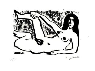 A.R. Penck Kleine Liegende Grafik Lithographie