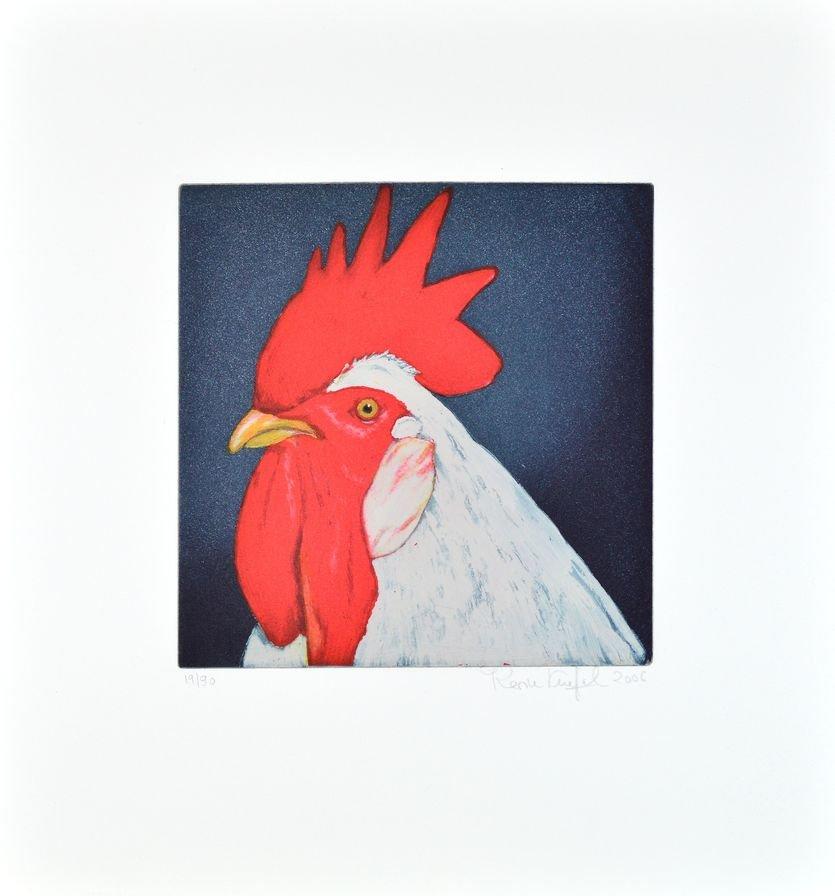 Karin Kneffel Tierportraits Gockel rot Radierung Grafik