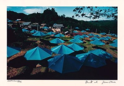 Christo and Jeanne-Claude Umbrellas Jinba Blue Photograph