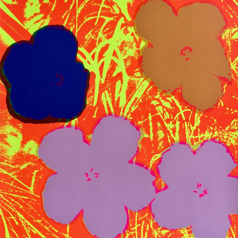 Andy Warhol Flowers Brown Red Serigraph Sunday B. Morning Flowers