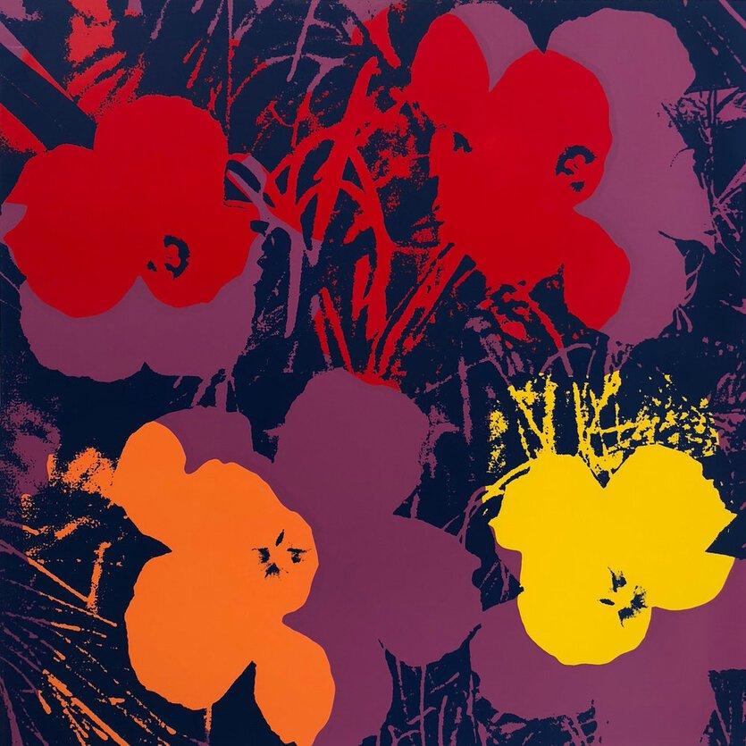 Andy Warhol Flowers Serigraph Sunday B. Morning Red Orange