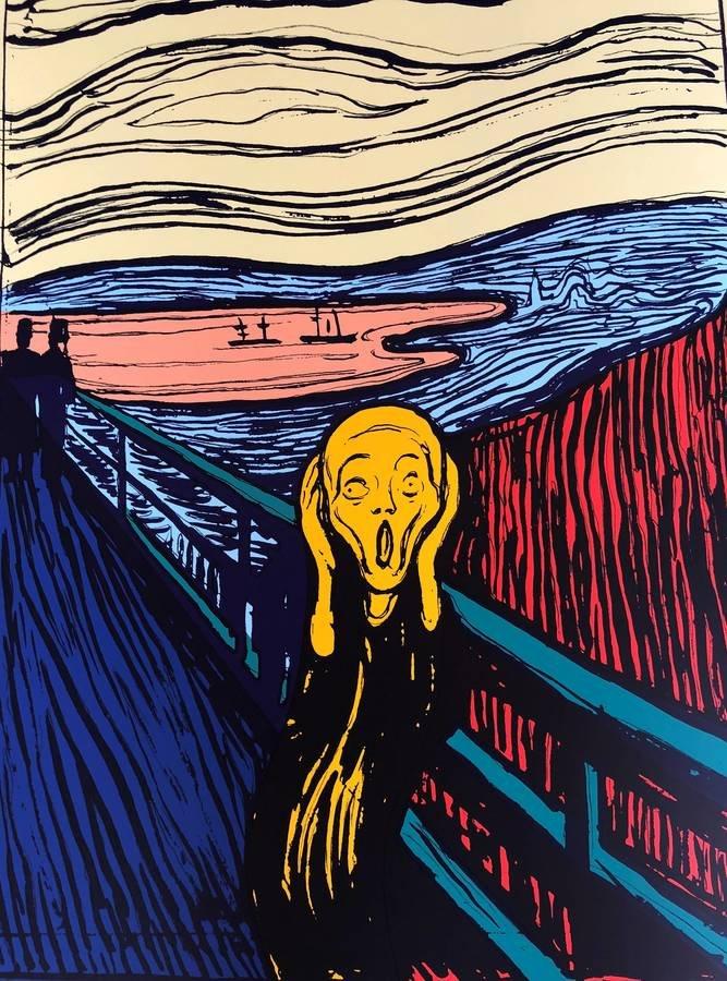 Andy Warhol The Scream Orange Siebdruck Sunday B. Morning