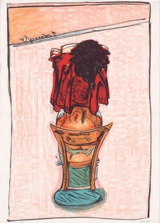 Norbert Tadeusz Unikat Lithographie Viola Rosa