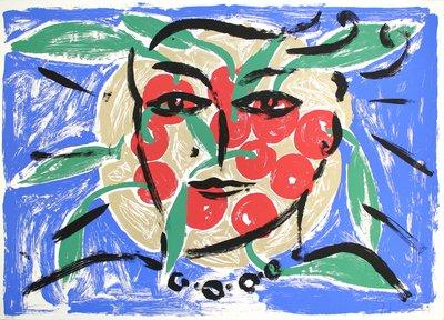 Stefan Szczesny Siebdruck Grafik Eva auf Kirschen