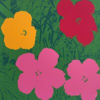 Andy Warhol Flowers Siebdruck Grün Rosa Sunday B. Morning