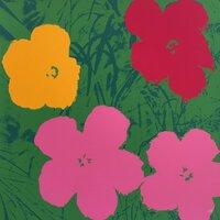 Andy Warhol Flowers Serigraph Green Pink Sunday B. Morning