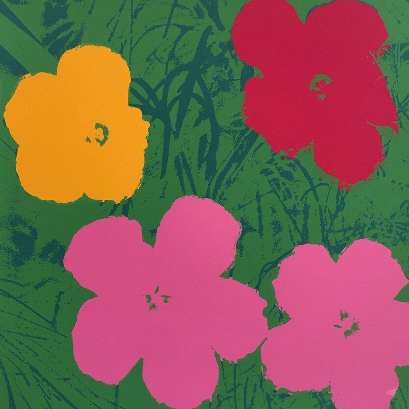 Andy Warhol Flowers Siebdruck Grün Rosa Sunday B. Morning